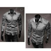 Camisa Masculina De Algodão Fit - Cinza, Preto Ou Branco