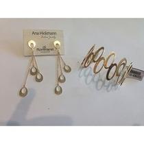 Bracelete+brinco Coleção Ana Hickmann Rommanel Folheado