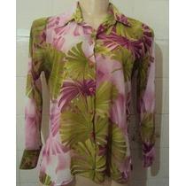 Camisa Feminina Crepe De Seda Estampada Tamanho M