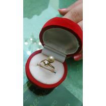 Belo Anel Ouro Vermelho Diamante E Pérola