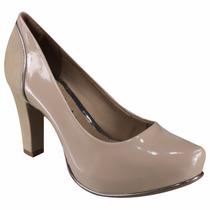 Sapato Feminino Scarpin Meia Pata Dakota B7892 Verniz Nude