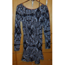 Vestido Curto Costa Nua Manga Longa Preto Estampado Panicat