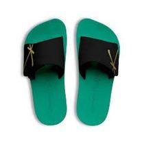 Chinelo Kenner Kivah Original Couro Verde E Preto Velcro