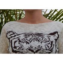 Blusa Frio Casaco Coruja Inverno Tigre Oncinha Tricô Linha