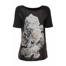 Blusa Malha Com Frente De Cetim E Estampa De Flores