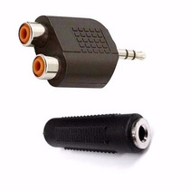 Adaptador P2 Macho X Rca + Emenda P2 Femea Plug Conector