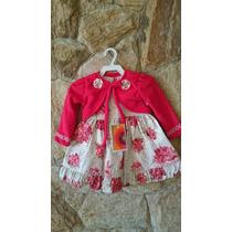 Vestido Infantil/ Bebê Festa Com Bolero Vermelho Ou Rosa