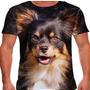 Camiseta Cachorro Chihuahua Pelo Longo Preto Marrom Masculin