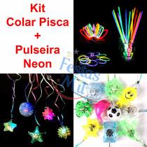 100 Colar Pisca + 200 Pulseira Neon Festa Balada Casamento