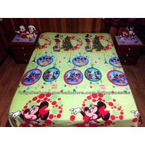 Manta Cama De Casal Verde Mickey E Minnie Natal Disney