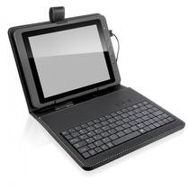 Capa Case Couro C/ Teclado Usb P/ Tablet 10 E 10.1 Polegadas