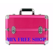Maleta Maquiagem Profissional Grande Aluminio Rosa E Pink