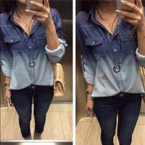 Camisa Jeans Manga Longa Feminina Degradê Tie Dye
