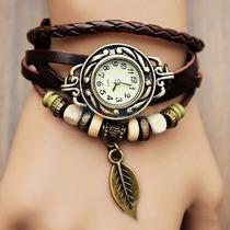 Relógios Feminino Pulseira De Couro Com Pingente Quartzo