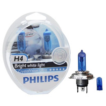 Lâmpada Philips Crystal Vision Ultra H4 Super Branca - Par