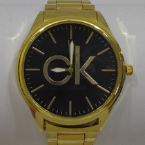 Relógio Masculino Dourado Luxo Ck Calvin Klein Pulseira Aço