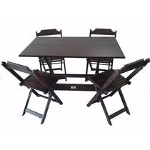 Jogos De Mesas Bar 120x70com 4 Cadeiras Dobraveis