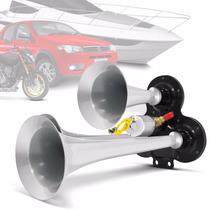 Buzina Automotiva Eletropneumática 3 Cornetas Metal Cromadas