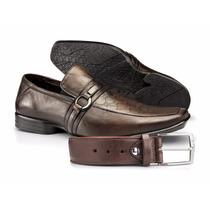 Sapato E Cinto Couro Legítimo Estilo Rafarillo Social Festa