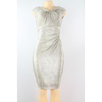 Ralph Lauren Bainha Foil Reunidos Vestido Ouro Branco