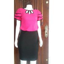 Conjunto Moda Evangelica E Executiva Social Saia+blusa