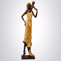 Africana Alta Com Criança - Escultura Decoração Enfeite