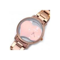 Relógio De Pulso Metalico Cor De Bronze E Vermelho