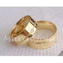 Alianças Ouro 18k 12 Gramas 7mm Brilhantes Casamento Noivado