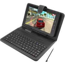 Capa Case Couro C/ Teclado Usb + Caneta Touch P/ Tablet 7