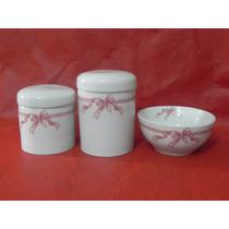 Kit Higiene Porcelana Bebe Porta Algodão Cotonete Molhadeira