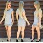 Vestido Cinza Tecido Grosso Moda Blogueira Pedraria Balada