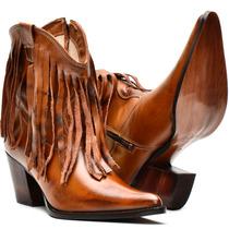Bota Country Feminina Cano Curto Texana Rodeio Couro Rodeio