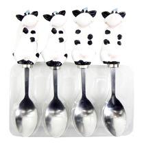 Colher Decorada Enfeite Vaca 4 Pçs Talher Cozinha Sobremesa