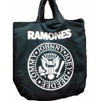 Bolsa Sacola Ramones Sarja C/ Zíper Bolso Interno Rock