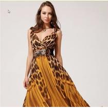 Vestido Longo Estampa Leopardo Onça Vermelho Alça P. Entrega