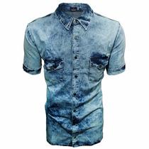 Camisa Jeans Rajado Masculina Estilo Europeu 2 Bolsos Casual