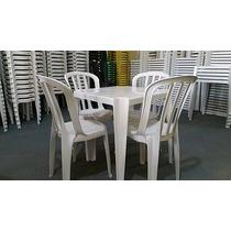 Conjunto Jogo 1 Mesa 4 Cadeiras Plástico Platex