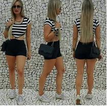 Macaquinho Macacão Feminino Curto Listrado Modelo 2016