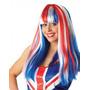 Union Jack Peruca - Longo Liso Fringe Britânico Cabelo Extr