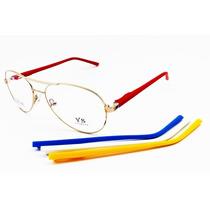 Óculos Modelo Aviador Dourado Para Grau Troca Hastes