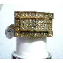 Anel Dourado Com Pedras Cristal Aro 19
