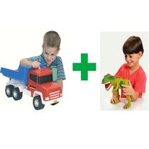 Kit Dino + Caminhão Caçamba Twister Com Som - Adjomar