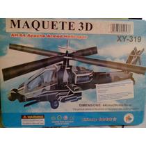 Maquete 3d Helicoptero Apache Ah-64 Papelao Sem Cola Novo