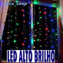 Cortina Cascata Led 2mx2m Pisca 8f - Iluminação Festas Natal