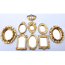 Kit 8 Mini Espelhos E Coroa Dourado