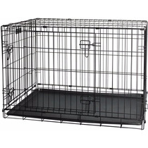 Gaiola Para Cães M 92x57x63cm Dobrável Com Bandeja Aço Inox