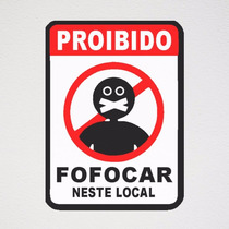 Skin Adesivo Placa Proibido Fofocar Salão Comércio