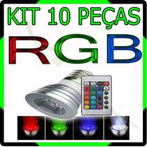 Kit Com 10 Lâmpada Spot Led Rgb 16 Cores + Controle - 3w E27