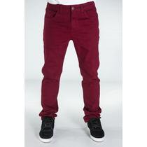 Calça Masculina Jeans Sarja Com Lycra Colorida Slin