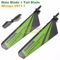 Blades + Tail Blade Helicóptero V911-1 Hélice Rotor Pás